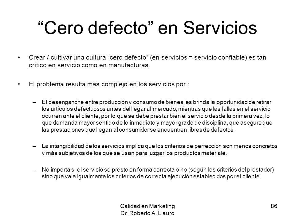 Cero defecto en Servicios Crear / cultivar una cultura cero defecto (en servicios = servicio confiable) es tan crítico en servicio como en manufactura