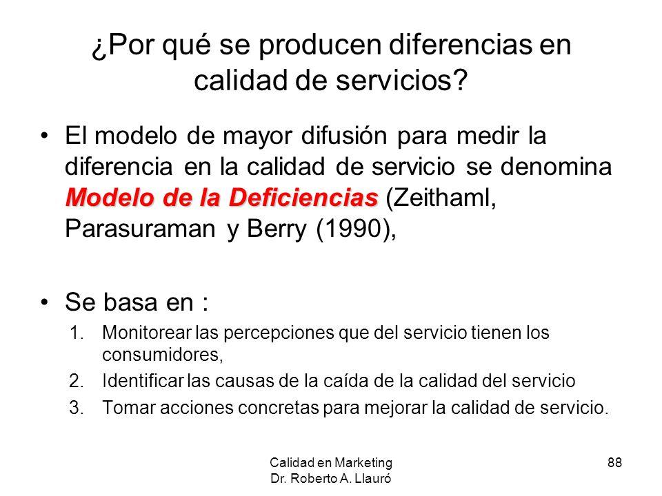 ¿Por qué se producen diferencias en calidad de servicios? Modelo de la DeficienciasEl modelo de mayor difusión para medir la diferencia en la calidad