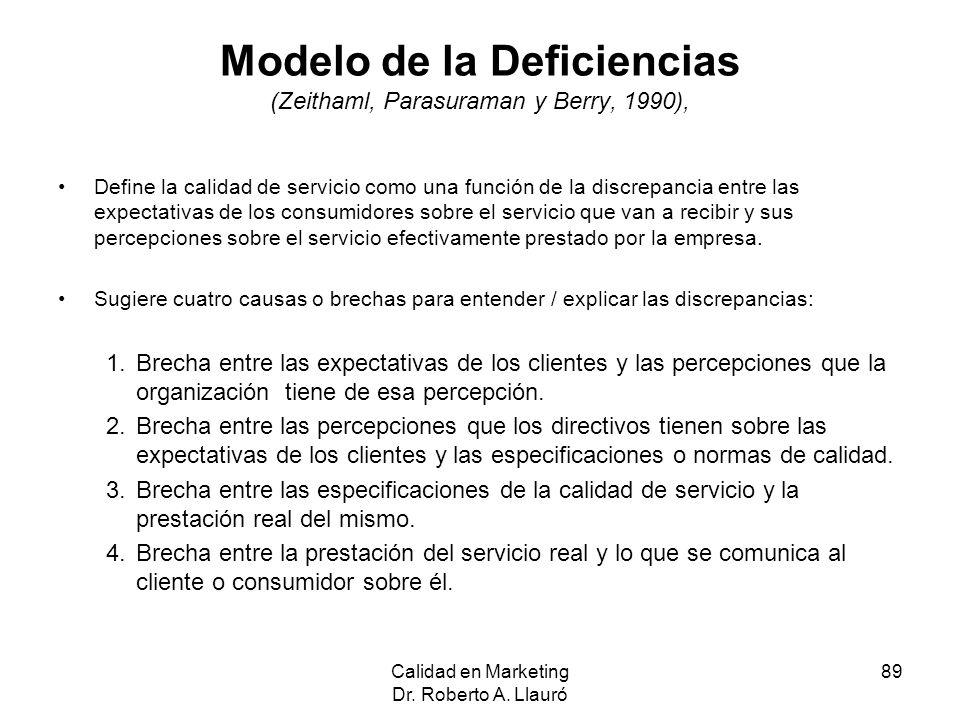 Modelo de la Deficiencias (Zeithaml, Parasuraman y Berry, 1990), Define la calidad de servicio como una función de la discrepancia entre las expectati
