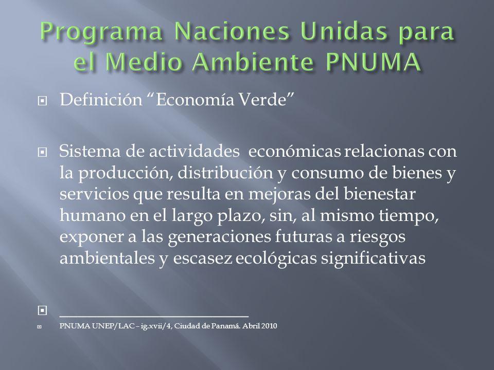 Definición Economía Verde Sistema de actividades económicas relacionas con la producción, distribución y consumo de bienes y servicios que resulta en mejoras del bienestar humano en el largo plazo, sin, al mismo tiempo, exponer a las generaciones futuras a riesgos ambientales y escasez ecológicas significativas _____________________ PNUMA UNEP/LAC – ig.xvii/4, Ciudad de Panamá.