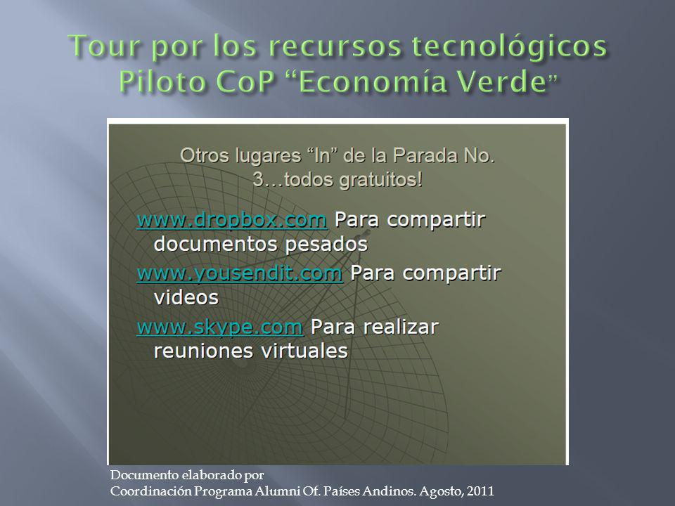 Documento elaborado por Coordinación Programa Alumni Of. Países Andinos. Agosto, 2011