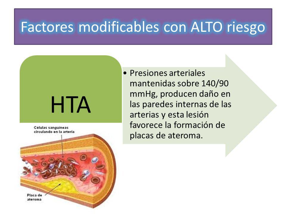Presiones arteriales mantenidas sobre 140/90 mmHg, producen daño en las paredes internas de las arterias y esta lesión favorece la formación de placas
