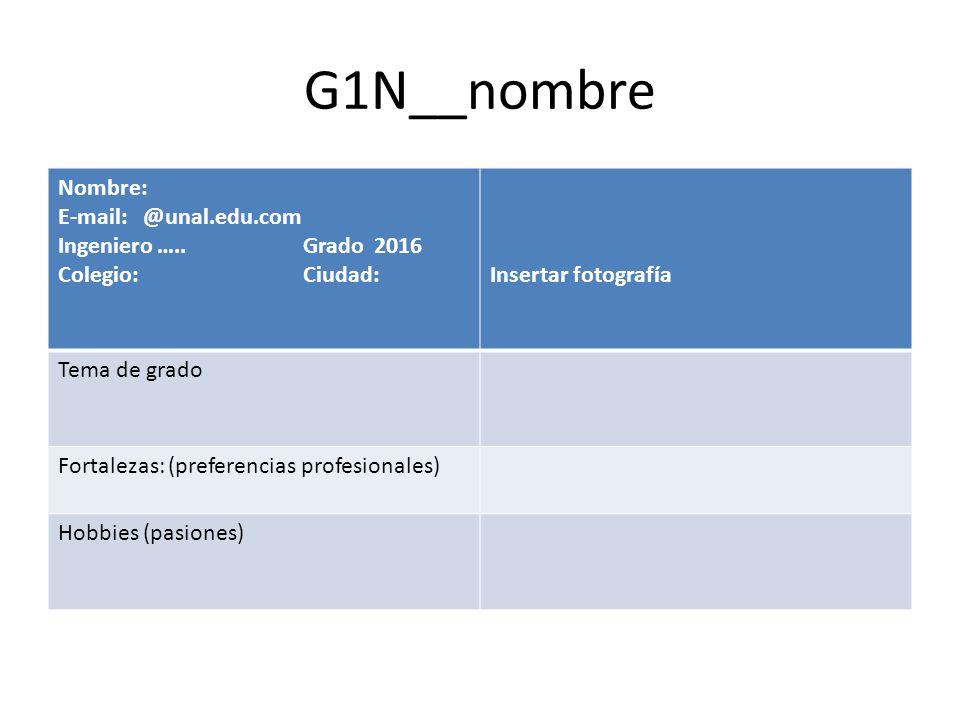 G1N__nombre Nombre: E-mail: @unal.edu.com Ingeniero ….. Grado 2016 Colegio: Ciudad:Insertar fotografía Tema de grado Fortalezas: (preferencias profesi