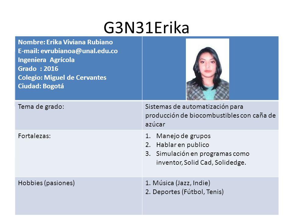 G3N31Erika Nombre: E-mail: @unal.edu.com Ingeniero ….. Grado 2016 Colegio: Ciudad:Insertar fotografía Tema de grado Fortalezas: (preferencias profesio