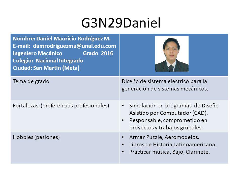 G3N29Daniel Nombre: Daniel Mauricio Rodríguez M. E-mail: damrodriguezma@unal.edu.com Ingeniero Mecánico Grado 2016 Colegio: Nacional Integrado Ciudad:
