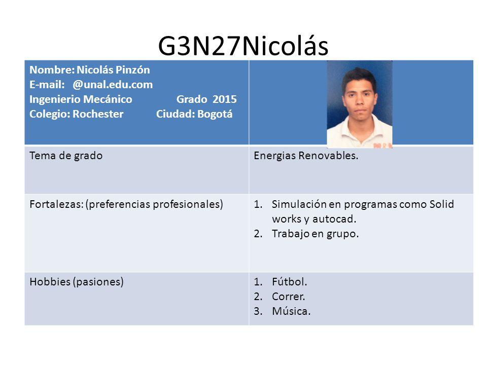 G3N27Nicolás Nombre: Nicolás Pinzón E-mail: @unal.edu.com Ingenierio Mecánico Grado 2015 Colegio: Rochester Ciudad: Bogotá Tema de gradoEnergias Renov