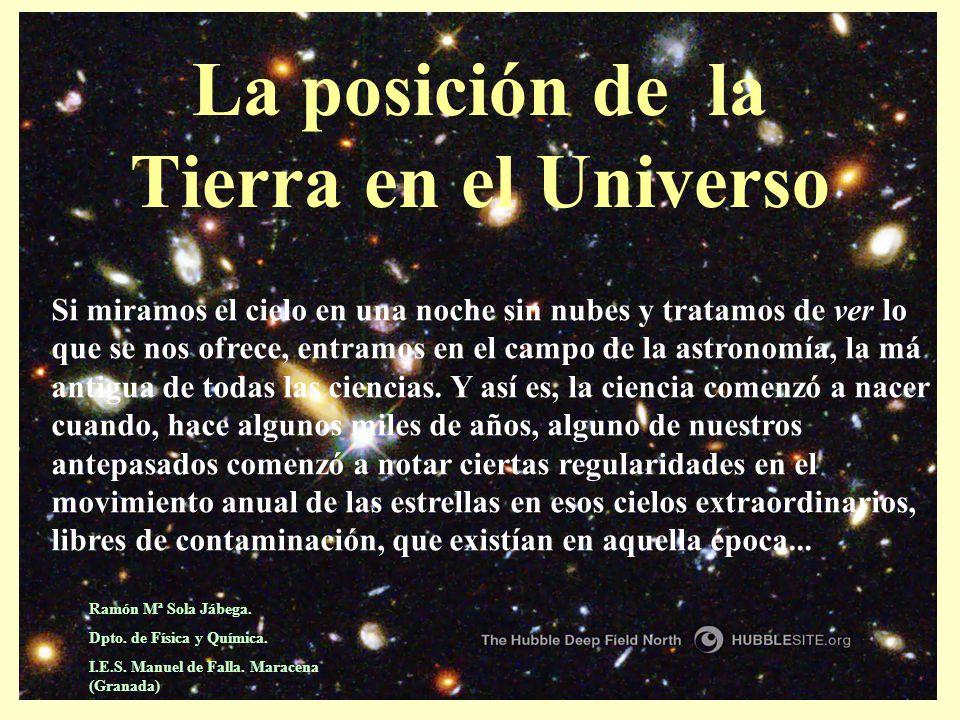 La posición de la Tierra en el Universo Si miramos el cielo en una noche sin nubes y tratamos de ver lo que se nos ofrece, entramos en el campo de la