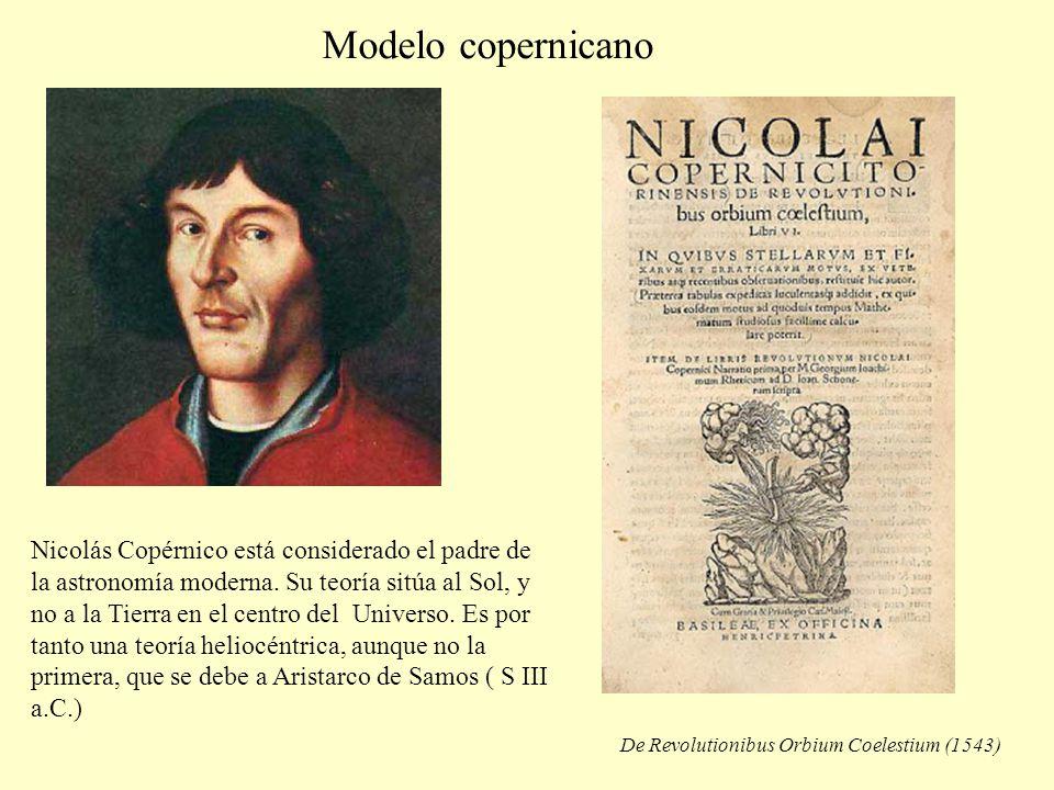 Modelo copernicano De Revolutionibus Orbium Coelestium (1543) Nicolás Copérnico está considerado el padre de la astronomía moderna. Su teoría sitúa al