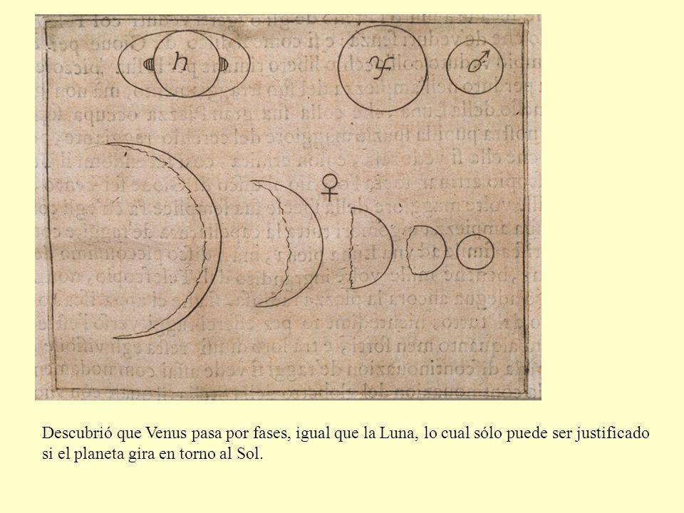 Descubrió que Venus pasa por fases, igual que la Luna, lo cual sólo puede ser justificado si el planeta gira en torno al Sol.