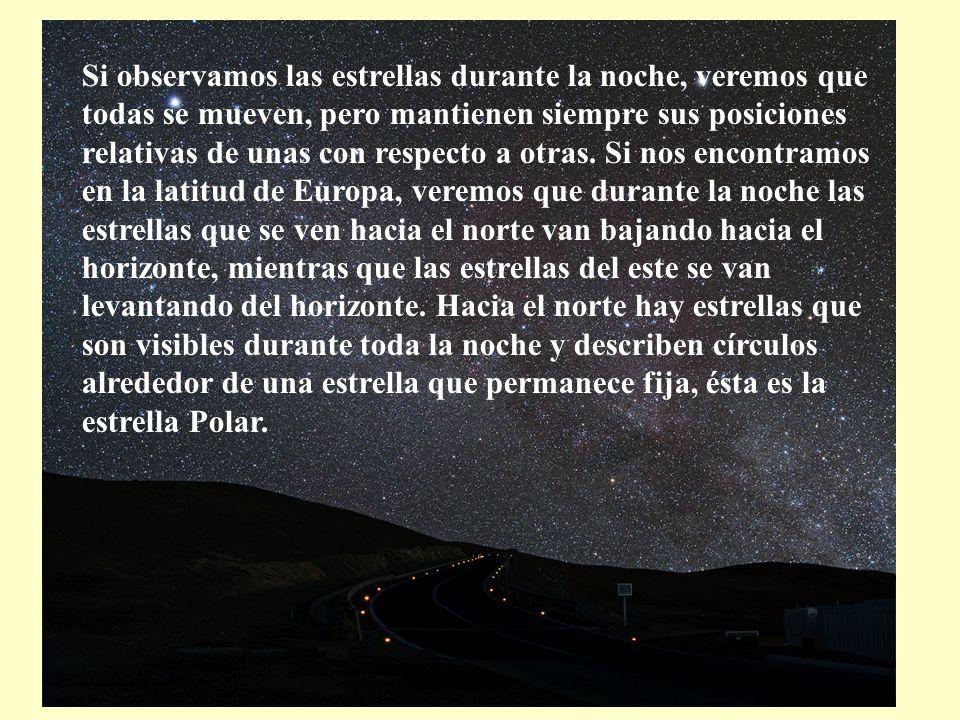 Si observamos las estrellas durante la noche, veremos que todas se mueven, pero mantienen siempre sus posiciones relativas de unas con respecto a otra