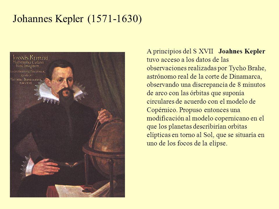 Johannes Kepler (1571-1630) A principios del S XVII Joahnes Kepler tuvo acceso a los datos de las observaciones realizadas por Tycho Brahe, astrónomo