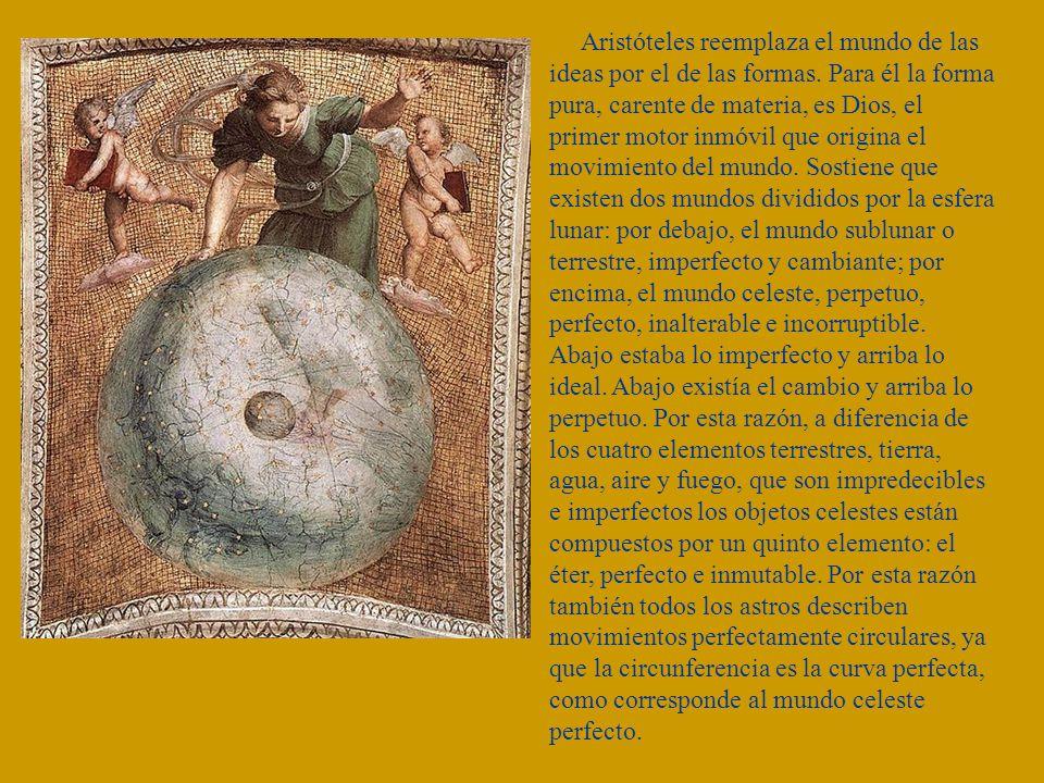 Aristóteles reemplaza el mundo de las ideas por el de las formas. Para él la forma pura, carente de materia, es Dios, el primer motor inmóvil que orig