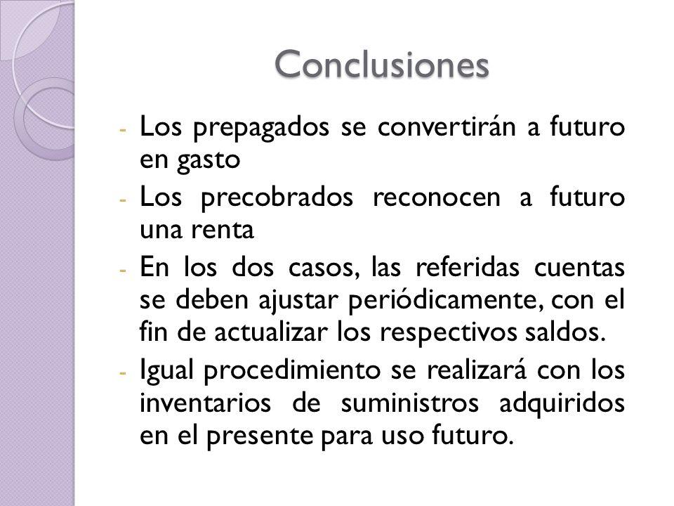 Conclusiones - Los prepagados se convertirán a futuro en gasto - Los precobrados reconocen a futuro una renta - En los dos casos, las referidas cuenta