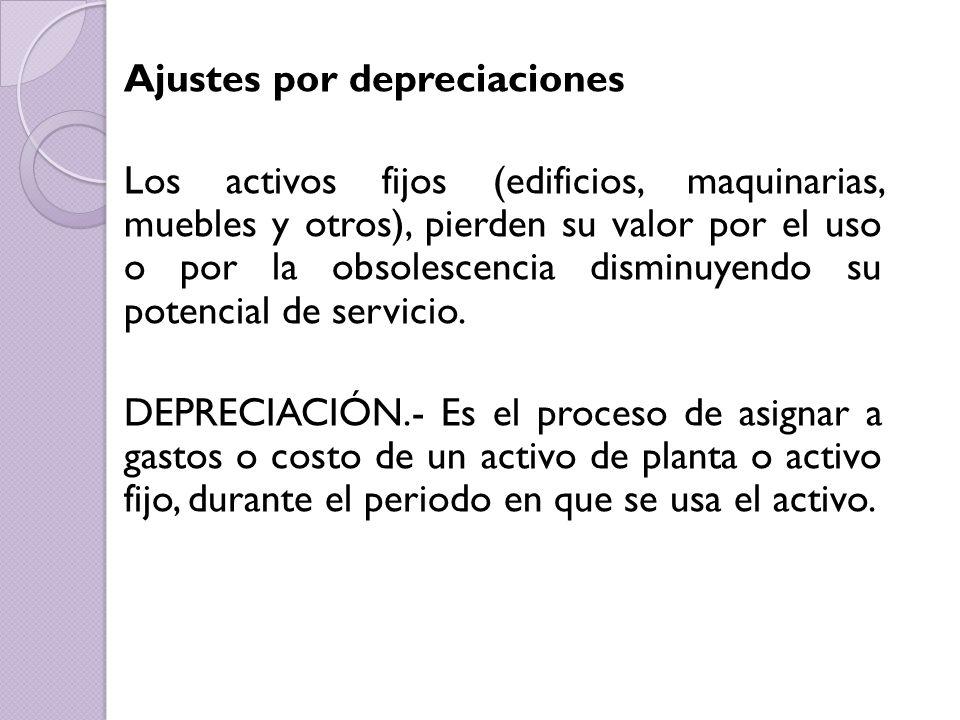 Ajustes por depreciaciones Los activos fijos (edificios, maquinarias, muebles y otros), pierden su valor por el uso o por la obsolescencia disminuyend