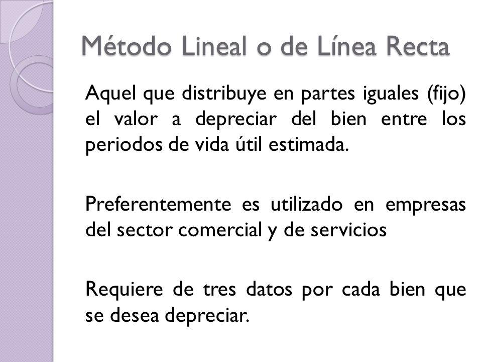 Método Lineal o de Línea Recta Aquel que distribuye en partes iguales (fijo) el valor a depreciar del bien entre los periodos de vida útil estimada. P