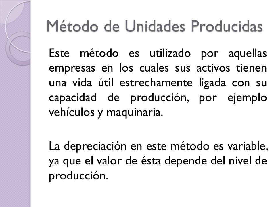 Método de Unidades Producidas Este método es utilizado por aquellas empresas en los cuales sus activos tienen una vida útil estrechamente ligada con s