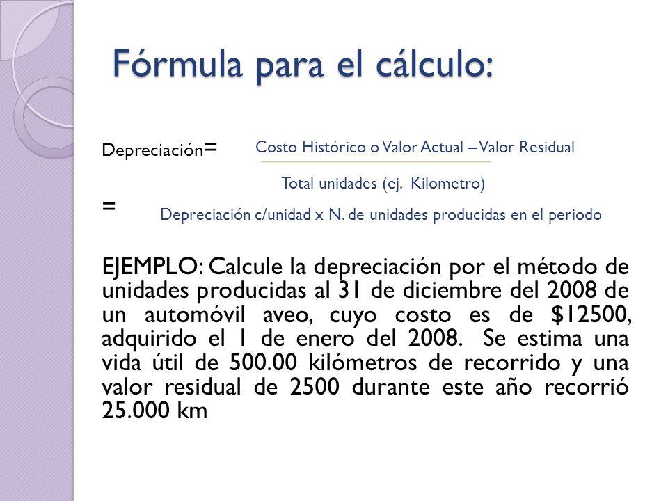 Fórmula para el cálculo: Depreciación = = EJEMPLO: Calcule la depreciación por el método de unidades producidas al 31 de diciembre del 2008 de un auto