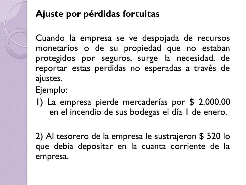 Ajuste por pérdidas fortuitas Cuando la empresa se ve despojada de recursos monetarios o de su propiedad que no estaban protegidos por seguros, surge