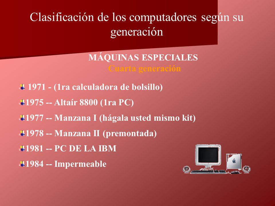 1971 - (1ra calculadora de bolsillo) 1975 -- Altaír 8800 (1ra PC) 1977 -- Manzana I (hágala usted mismo kit) 1978 -- Manzana II (premontada) 1981 -- P