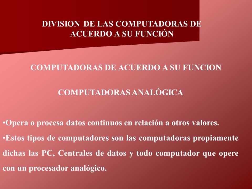 COMPUTADORAS ANALÓGICA Opera o procesa datos continuos en relación a otros valores. Estos tipos de computadores son las computadoras propiamente dicha