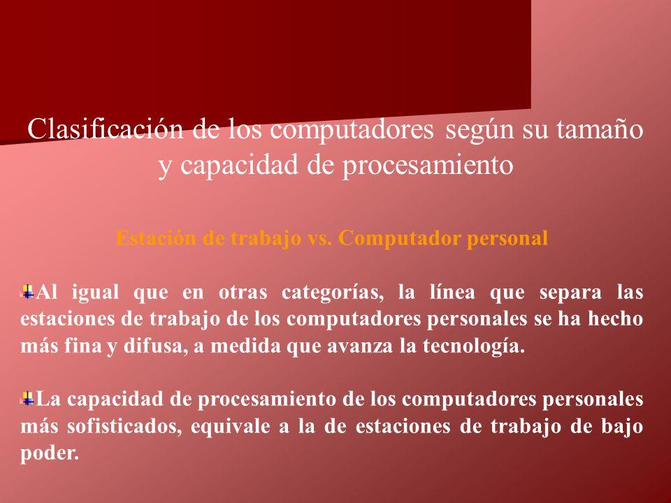 Estación de trabajo vs. Computador personal Al igual que en otras categorías, la línea que separa las estaciones de trabajo de los computadores person