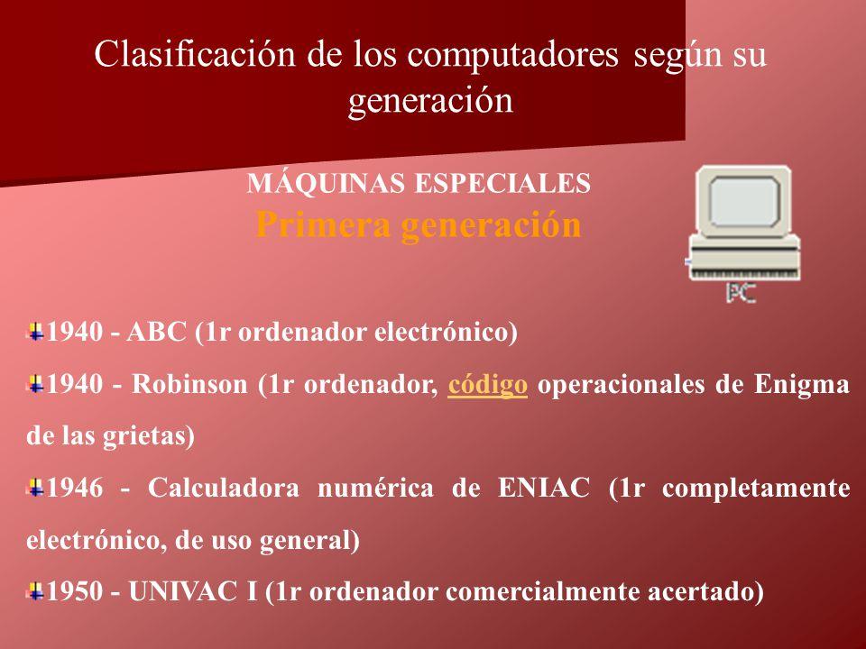 1940 - ABC (1r ordenador electrónico) 1940 - Robinson (1r ordenador, código operacionales de Enigma de las grietas)código 1946 - Calculadora numérica