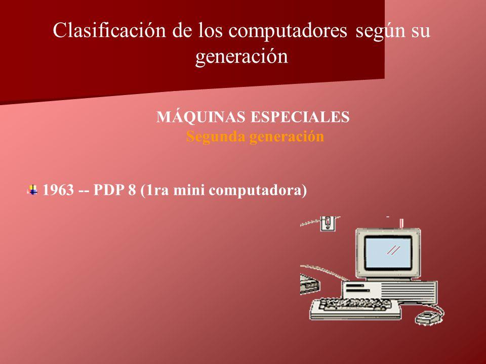 1963 -- PDP 8 (1ra mini computadora) MÁQUINAS ESPECIALES Segunda generación Clasificación de los computadores según su generación