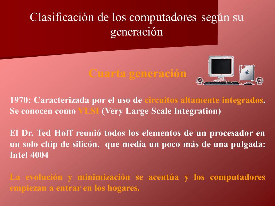 1970: Caracterizada por el uso de circuitos altamente integrados. Se conocen como VLSI (Very Large Scale Integration) El Dr. Ted Hoff reunió todos los