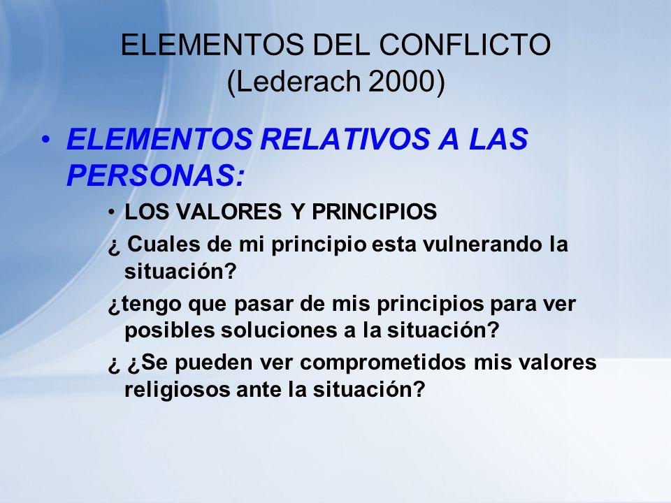 ELEMENTOS DEL CONFLICTO (Lederach 2000) ELEMENTOS RELATIVOS A LAS PERSONAS: INTERESES Y NECESIDADES ¿Por qué es importante lo que piden ? ¿para que ne