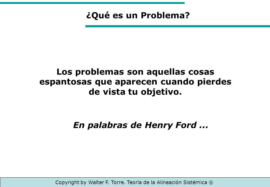 Los problemas son aquellas cosas espantosas que aparecen cuando pierdes de vista tu objetivo. ¿Qué es un Problema? Copyright by Walter F. Torre. Teorí