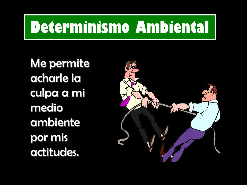 Determinismo Ambiental Me permite acharle la culpa a mi medio ambiente por mis actitudes.