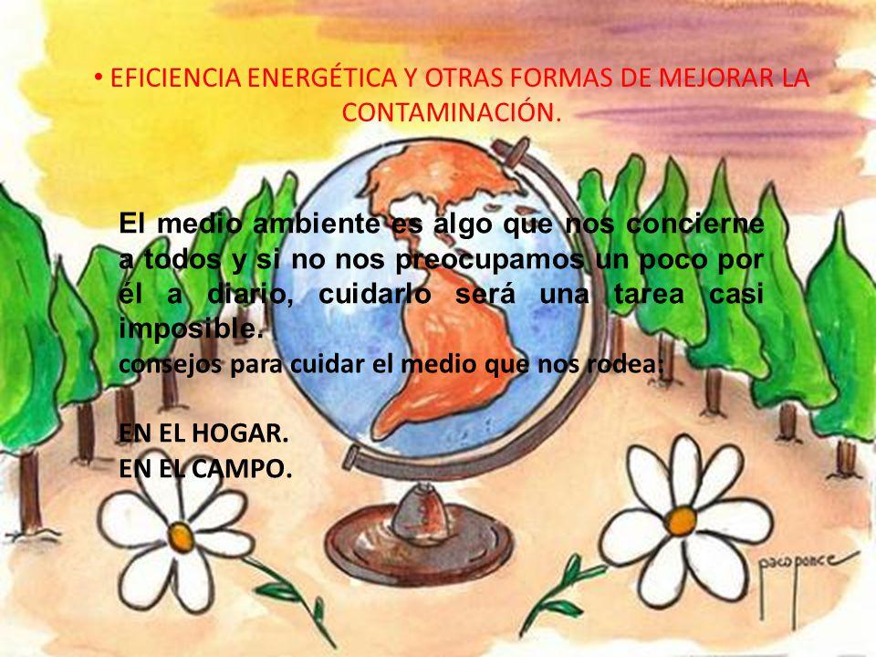 EFICIENCIA ENERGÉTICA Y OTRAS FORMAS DE MEJORAR LA CONTAMINACIÓN. El medio ambiente es algo que nos concierne a todos y si no nos preocupamos un poco