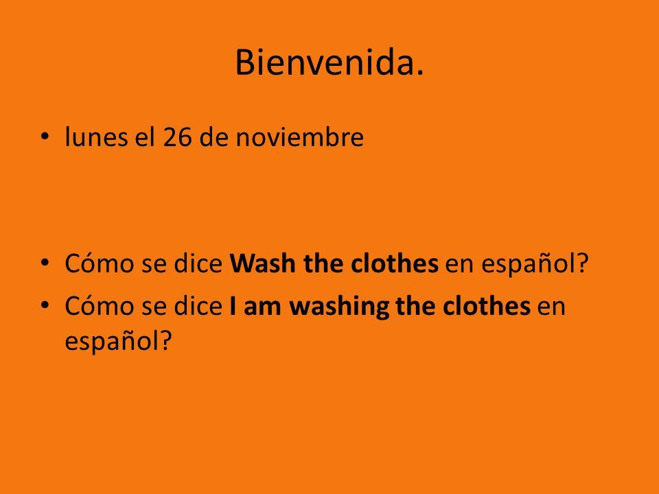 Bienvenida.lunes el 26 de noviembre Cómo se dice Wash the clothes en español.