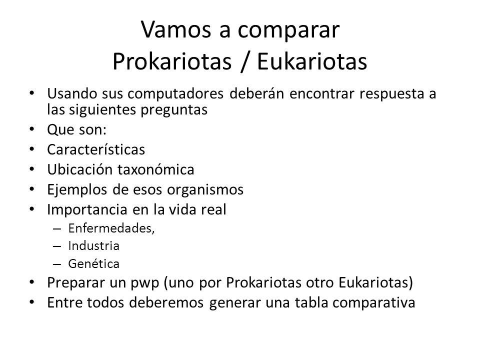Vamos a comparar Prokariotas / Eukariotas Usando sus computadores deberán encontrar respuesta a las siguientes preguntas Que son: Características Ubic