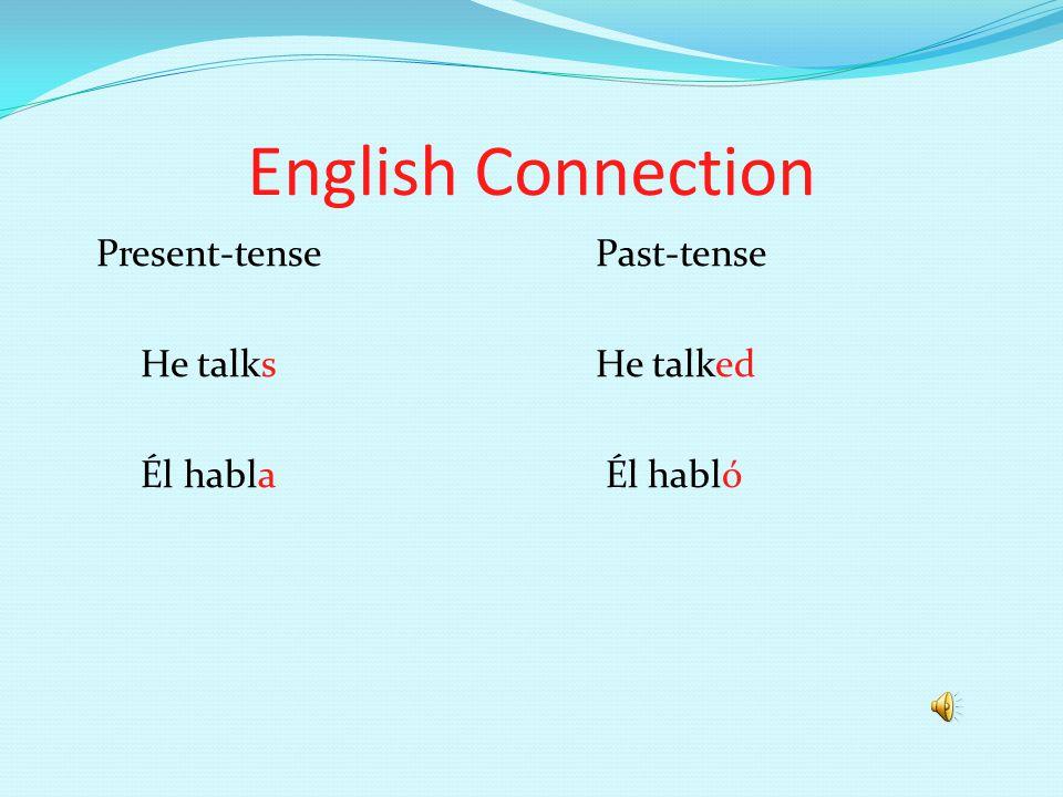 English Connection Present-tensePast-tense He talksHe talked Él habla Él habló