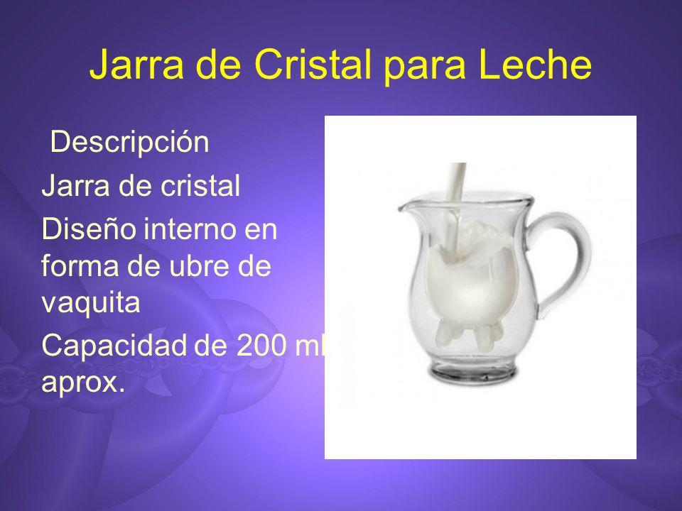 Jarra de Cristal para Leche Descripción Jarra de cristal Diseño interno en forma de ubre de vaquita Capacidad de 200 ml aprox.