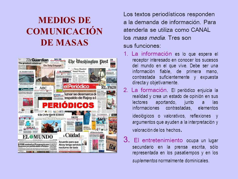MEDIOS DE COMUNICACIÓN DE MASAS Los textos periodísticos responden a la demanda de información.