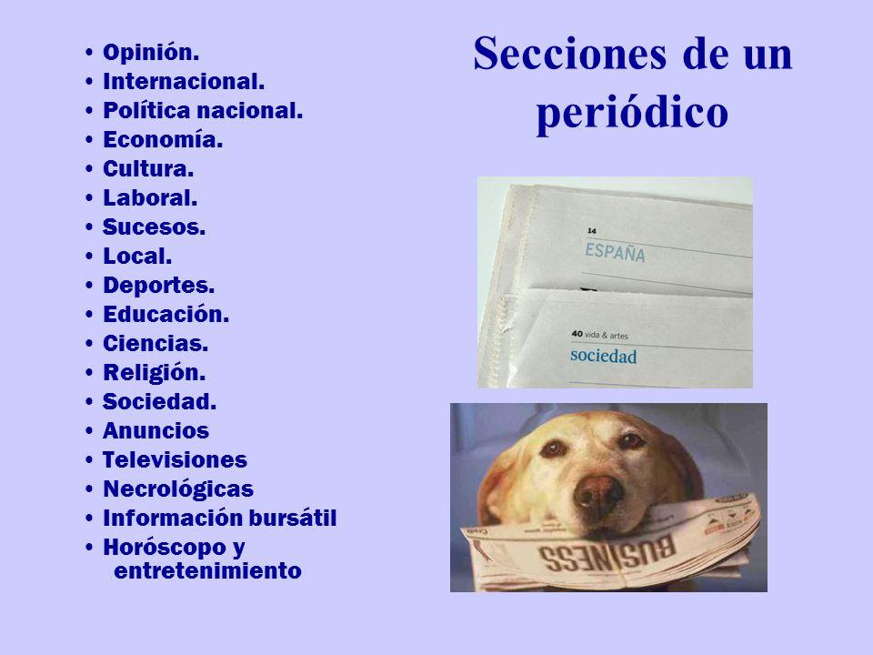 Secciones de un periódico Opinión.Internacional. Política nacional.