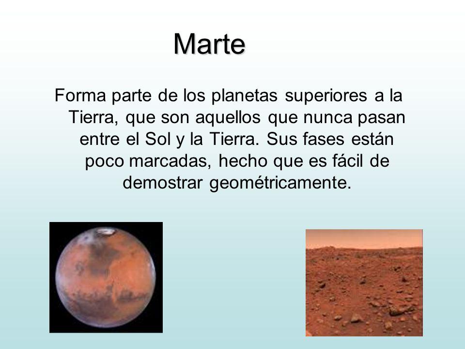 Marte Forma parte de los planetas superiores a la Tierra, que son aquellos que nunca pasan entre el Sol y la Tierra. Sus fases están poco marcadas, he