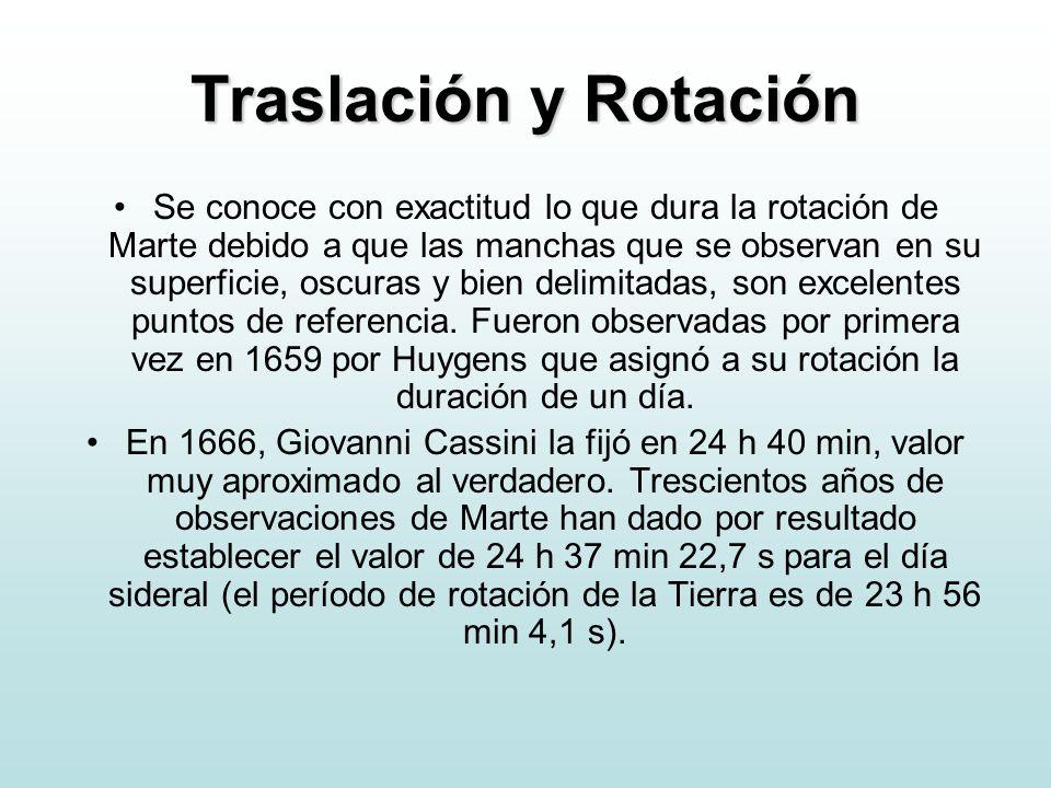 Traslación y Rotación Se conoce con exactitud lo que dura la rotación de Marte debido a que las manchas que se observan en su superficie, oscuras y bi