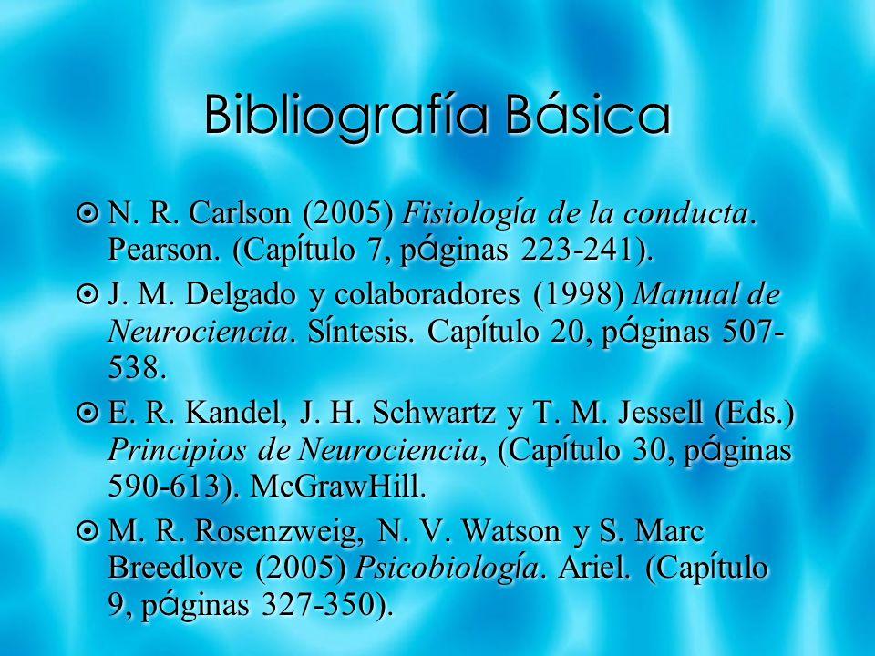 Bibliografía Básica N. R. Carlson (2005) Fisiolog í a de la conducta. Pearson. (Cap í tulo 7, p á ginas 223-241). J. M. Delgado y colaboradores (1998)