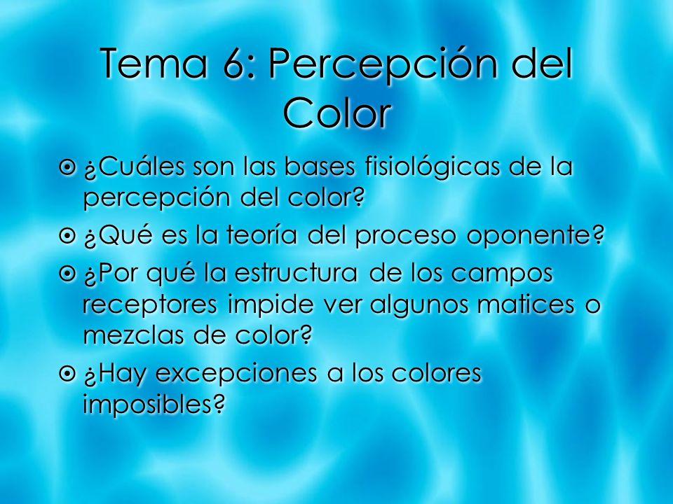 Tema 6: Percepción del Color ¿Cuáles son las bases fisiológicas de la percepción del color? ¿Qué es la teoría del proceso oponente? ¿Por qué la estruc