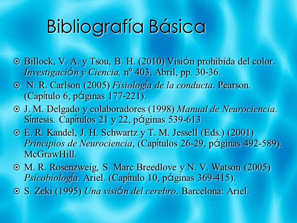 Bibliografía Básica Billock, V. A. y Tsou, B. H. (2010) Visi ó n prohibida del color. Investigaci ó n y Ciencia, n º 403, Abril, pp. 30-36. N. R. Carl