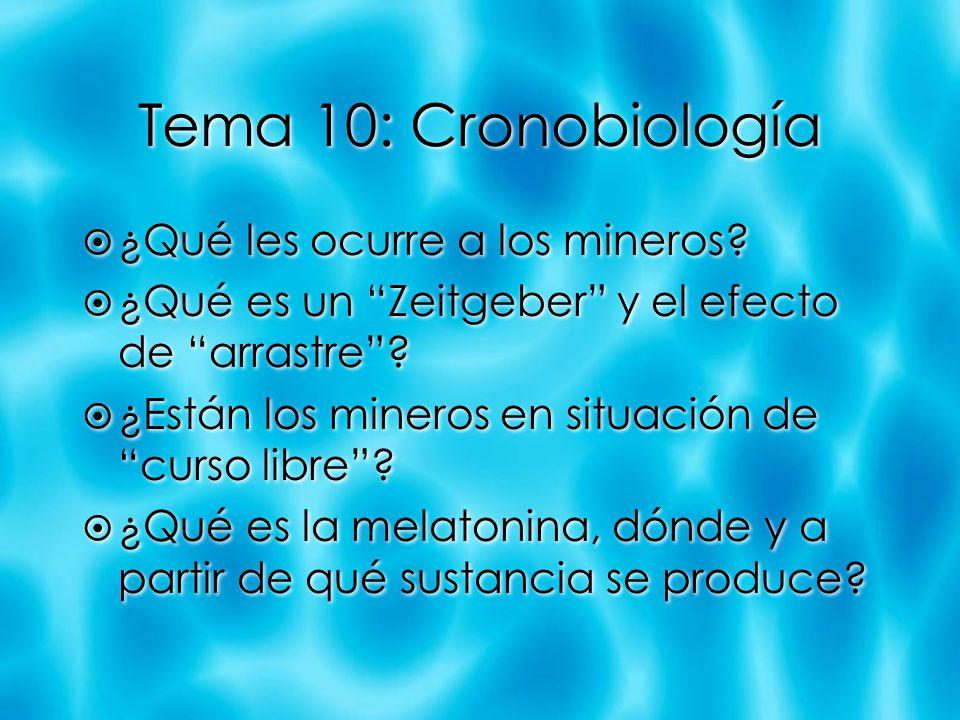 Tema 10: Cronobiología ¿Qué les ocurre a los mineros? ¿Qué es un Zeitgeber y el efecto de arrastre? ¿Están los mineros en situación de curso libre? ¿Q