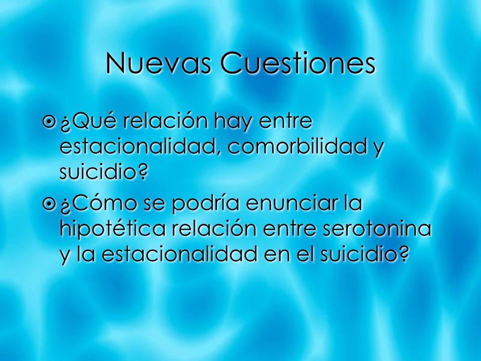 Nuevas Cuestiones ¿Qué relación hay entre estacionalidad, comorbilidad y suicidio? ¿Cómo se podría enunciar la hipotética relación entre serotonina y