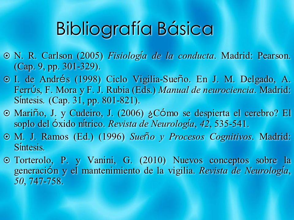 Bibliografía Básica N. R. Carlson (2005) Fisiolog í a de la conducta. Madrid: Pearson. (Cap. 9, pp. 301-329). I. de Andr é s (1998) Ciclo Vigilia-Sue