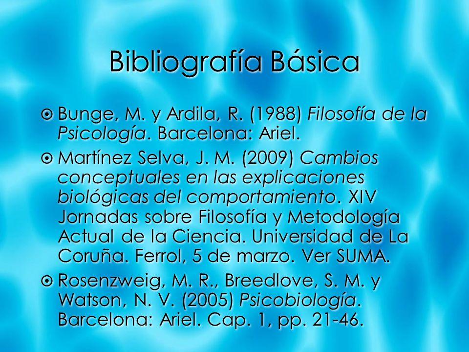 Bibliografía Básica Bunge, M. y Ardila, R. (1988) Filosofía de la Psicología. Barcelona: Ariel. Martínez Selva, J. M. (2009) Cambios conceptuales en l