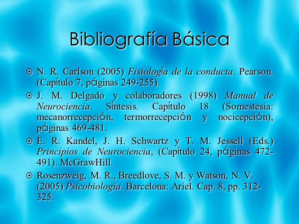 Bibliografía Básica N. R. Carlson (2005) Fisiolog í a de la conducta. Pearson. (Cap í tulo 7, p á ginas 249-255). J. M. Delgado y colaboradores (1998)