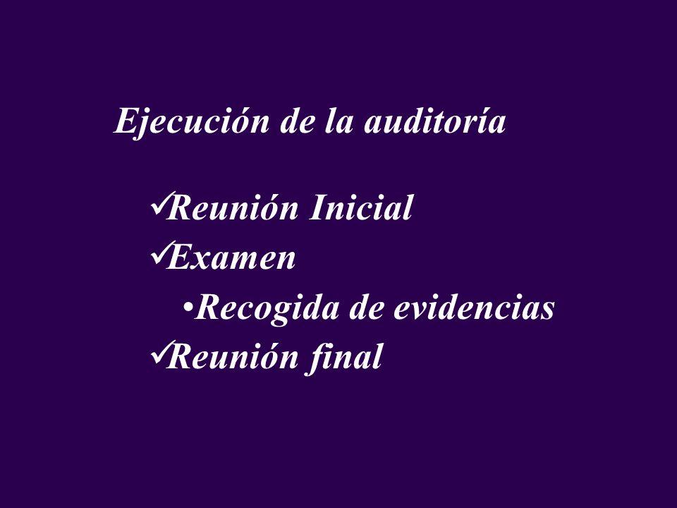 Ejecución de la auditoría Reunión Inicial Examen Recogida de evidencias Reunión final