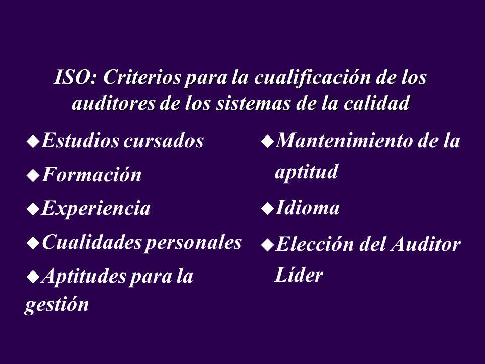 u Estudios cursados u Formación u Experiencia u Cualidades personales u Aptitudes para la gestión ISO: Criterios para la cualificación de los auditore
